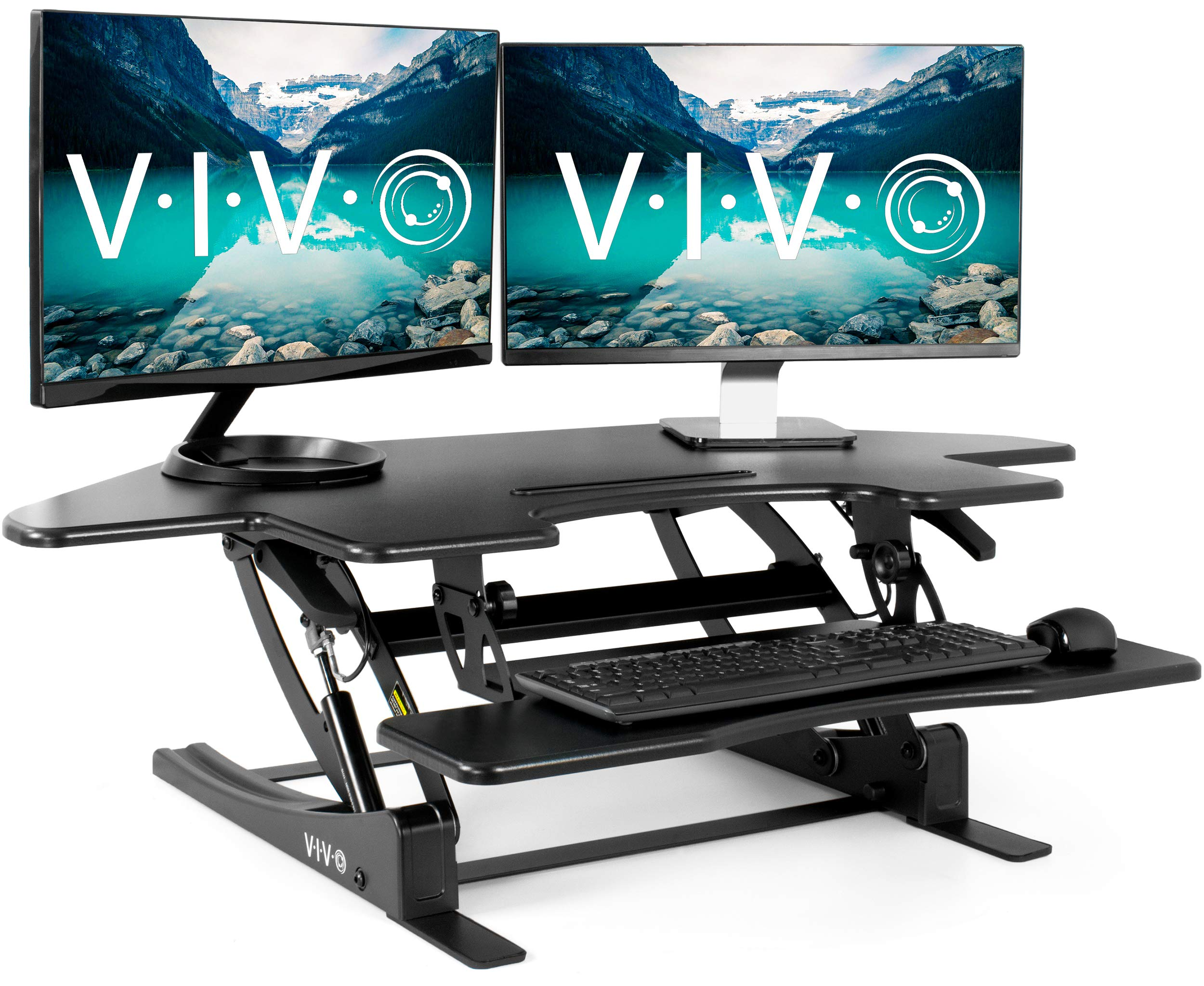 VIVO Black Corner Height Adjustable 43 inch Cubicle Standing Desk Converter | Quick Sit to Stand Tabletop Dual Monitor Riser (DESK-V000VC) by VIVO