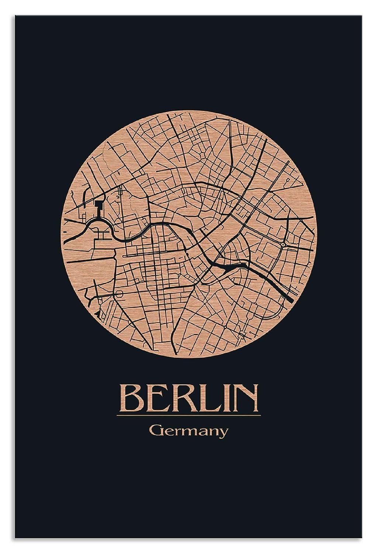 Artland Metallposter Kupfer I Wandbild Metall - Magnet Halterung 30x45 cm Alu Poster Hochformat Straßenkarte Berlin Vintage Bild Schwarz J2HZ