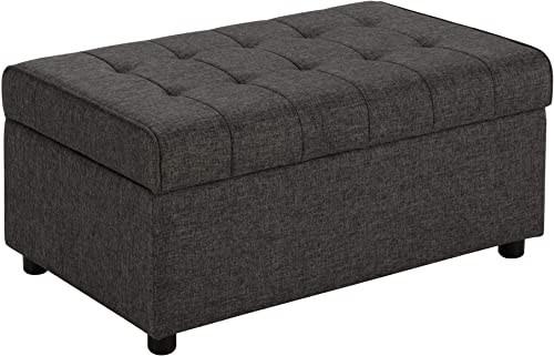 DHP Emily Rectangular Storage Ottoman, Modern Look with Tufted Design, Lightweight, Grey Linen Renewed