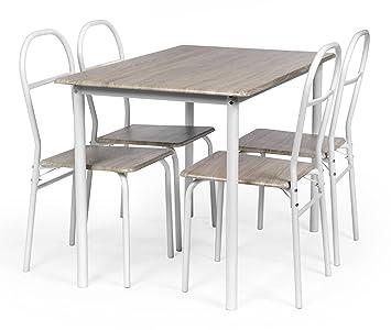 Ts Ideen 5 Teilige Essgruppe 5er Set Esstisch Küchentisch Mit 4 Stühlen Aus  Alugestell