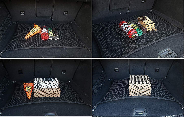 6 Mini furgoni 5 Benz 7 80 x 60 cm KOSTOO Rete di Fissaggio per Bagagliaio Auto Rete per Bagagliaio Auto SUV Grande Classe A Rete Elastica con Ganci per BMW Serie 3