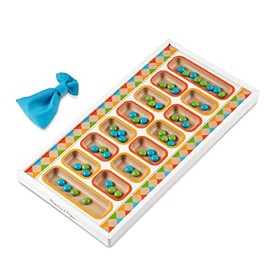 "Melissa & Doug Wooden Mancala Board Game with 48 Game Pieces (8.5"" W x 16.75"" L x 1.25"" D, Great Gift for Girls and Boys - Best for 6, 7, 8 Year Olds and Up): Toys & Games"