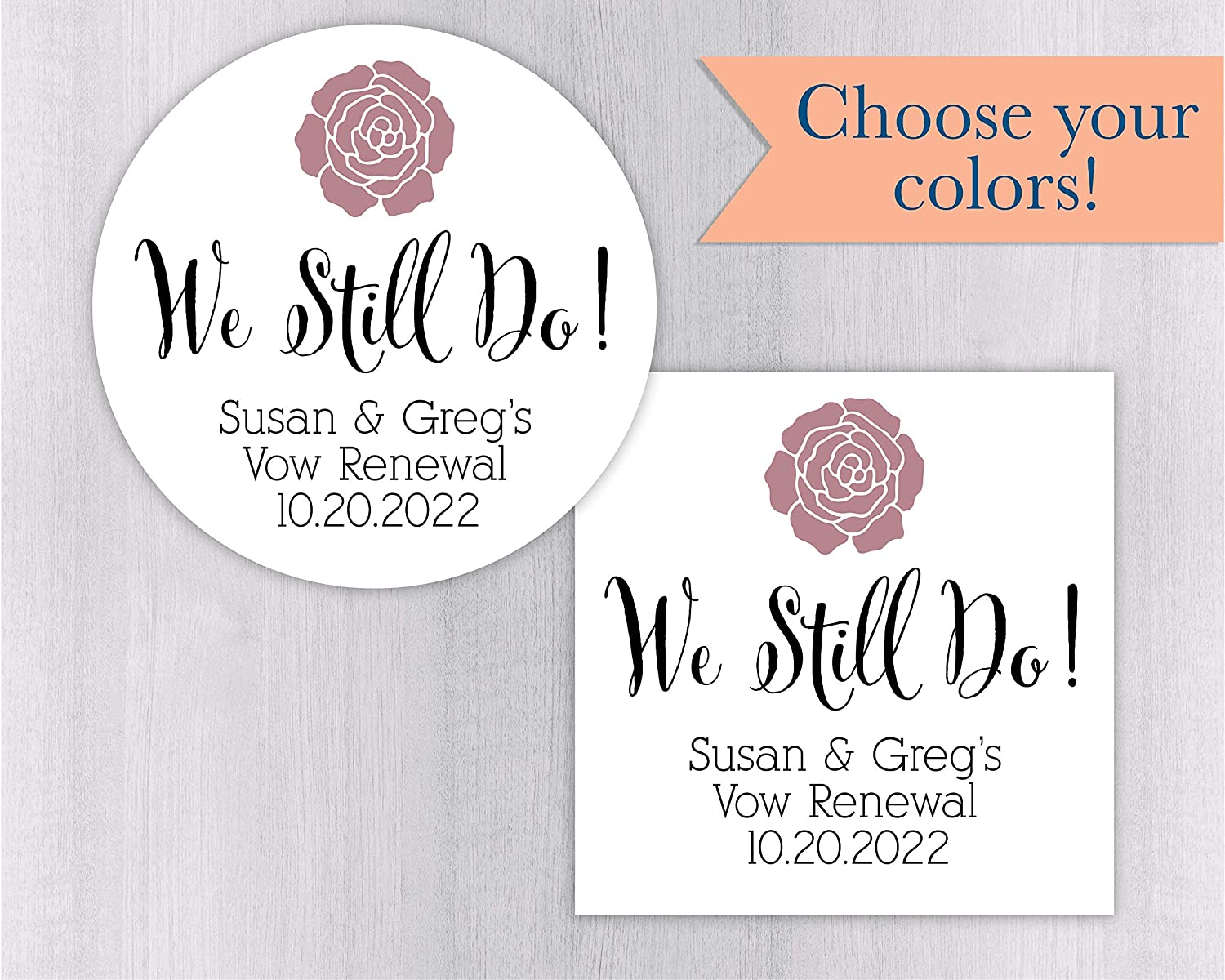 Vow Renewal Wedding Stickers We Still Do Labels Vow Renewal Stickers #386-1-SS Anniversary Favor Stickers