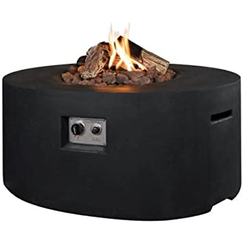 Gartenfeuer Gas Fire Oval Schwarz Amazon Co Uk Kitchen Home
