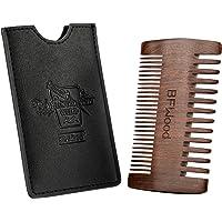BFWood Sandalwood Pocket Beard Comb with Black Leather Case