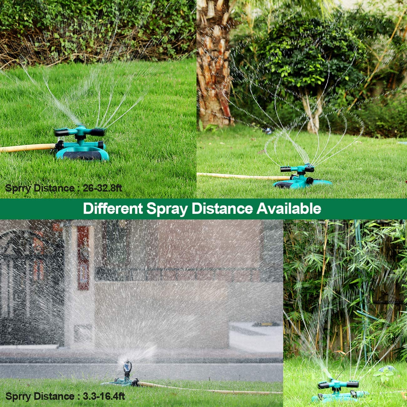 Aspersor de Riego, Sistema Automático de Irrigación de Rociadores de Agua de Jardín de 360 ° con Rociador Redondo de 3 Brazos, Manguera Fácil de Conectar: Amazon.es: Jardín