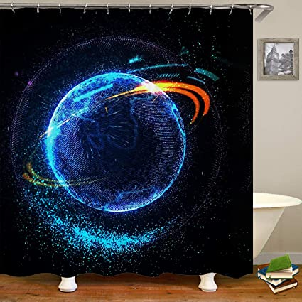 Sara Nell Outer Space Art Bathroom Decor Collection Universe Abstract Nebula Galaxy Chakra Infinity Psychedelic Photography Print Polyester Fabric