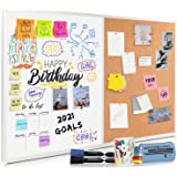 """Cork Board and Dry Erase Board Combo (18 x 24"""") Magnetic Bulletin Board for Home or Office, Vision or Message Board, Wall Mou"""