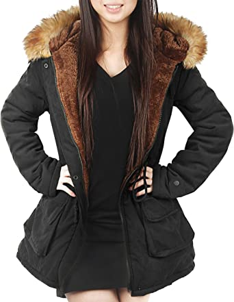 Faux Fur Parka Coat Womens