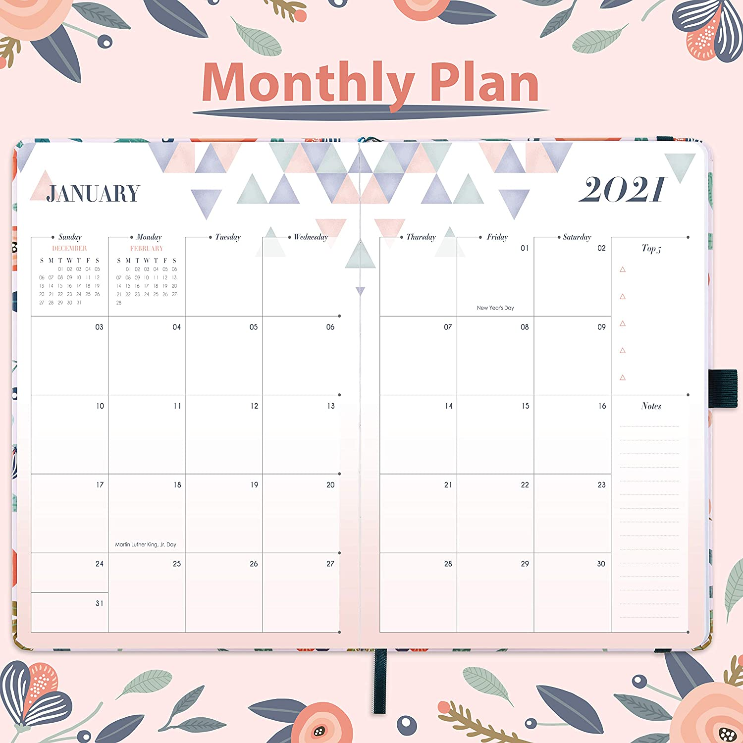 Eono by Monthly Tabs Perfect Diary for Your Daily Planning Pen Loop and Back Pocket Monthly /& Weekly Diary with Hardcover Diary 2021 21.3 x 14.7 x 1.6 cm A5 Week to View Planner