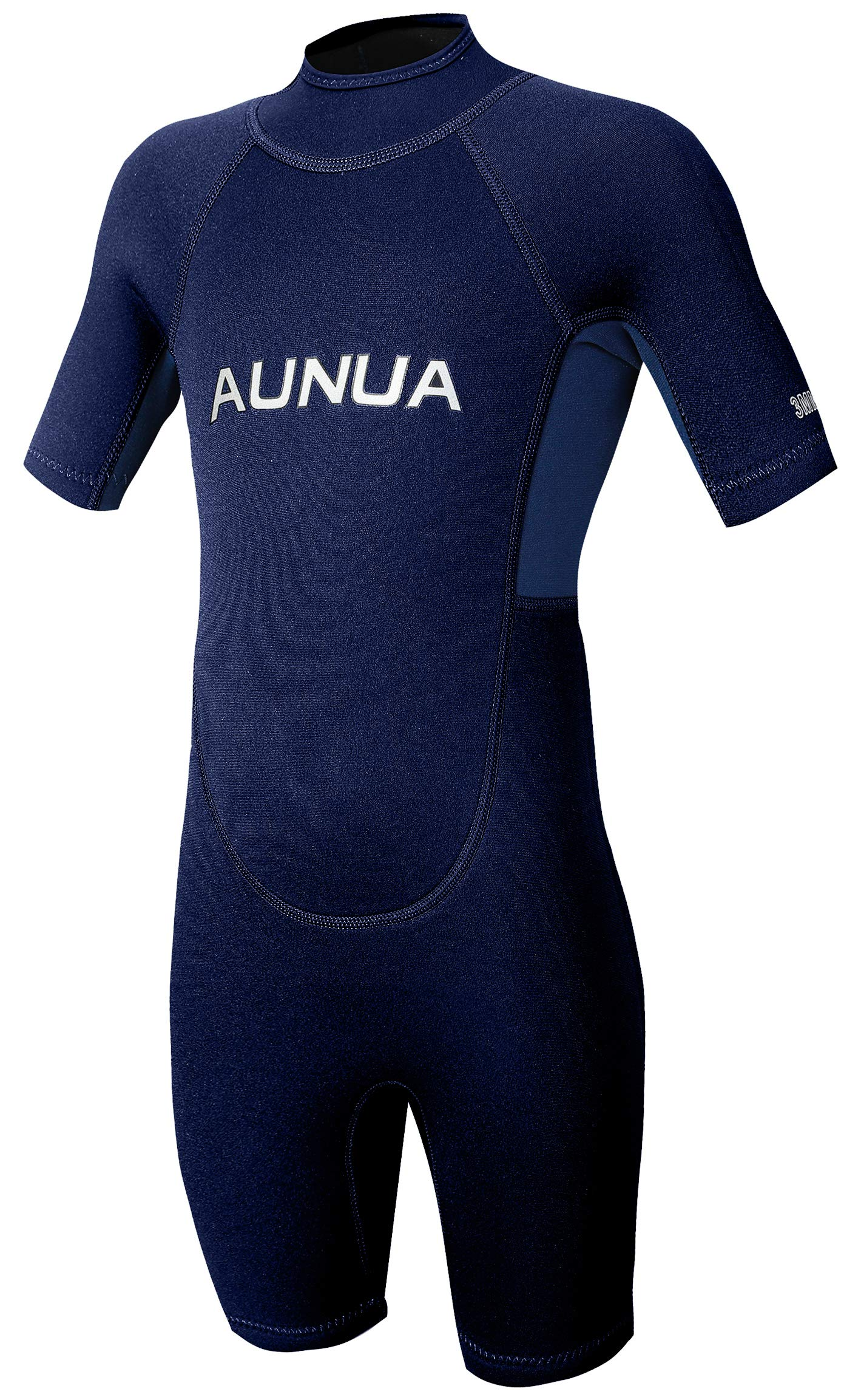 Aunua Children's 3mm Youth Swimming Suit Shorty Wetsuits Neoprene for Kids Keep Warm(7035 NavyBlue 4) by Aunua
