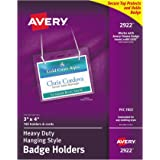 Amazon avery name badges with lanyards print or write 3 x 4 avery clear heavy duty hanging style landscape badge holders 3 x 4 saigontimesfo