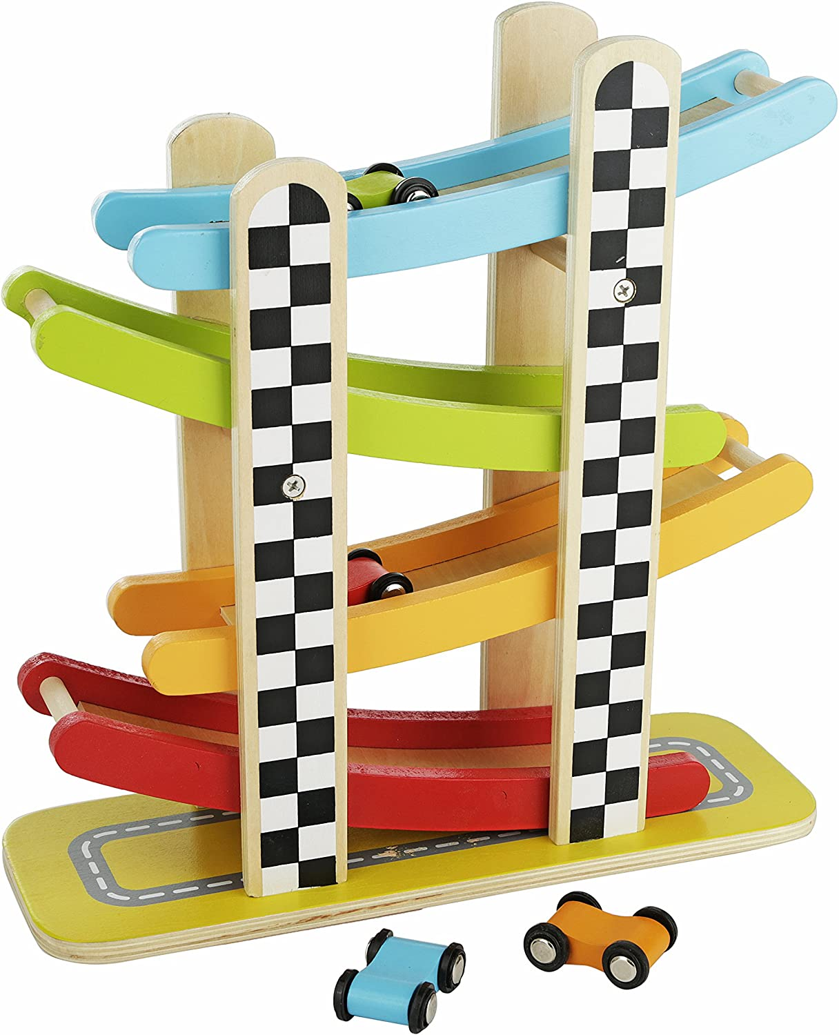 Colorful Wood Race Track Ramp with 4 Wooden Race Cars - Solid Wood Educational Baby Toy for Toddler Boys and Girls Age 18-24 Months, 2 Years and Up - Classic Early Development Vehicle Playset Toy
