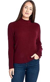 694dc528cd14 Mariyaab Women's 100% Cashmere Soft Ribbed Long Sleeve High Neck Sweater
