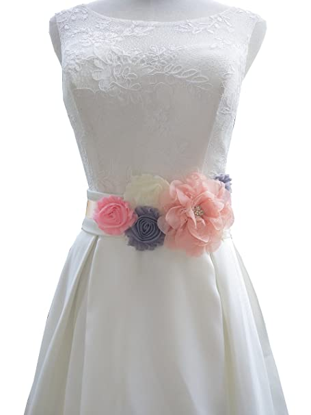 Flowers maternity sash wedding sashes romantic flowers sashes (Blush)