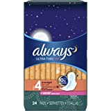 Always Ultra Thin, Size 4, Overnight Pads With Wings, Scented, 24 Count