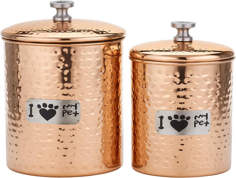 Pet Canister Old Dutch 1444CP 2 Pc 6Qt, Copper Cat Paw Container Set 3 2/¼ Qt