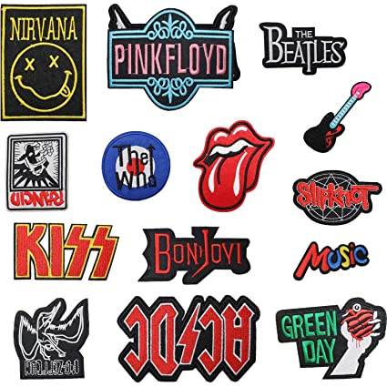 Beatles 16pcs AC//DC KISS Nirvana Patch Set Zepplin,Music Green Day Rock Punk Band Patch Set Iron on Sew on Patches