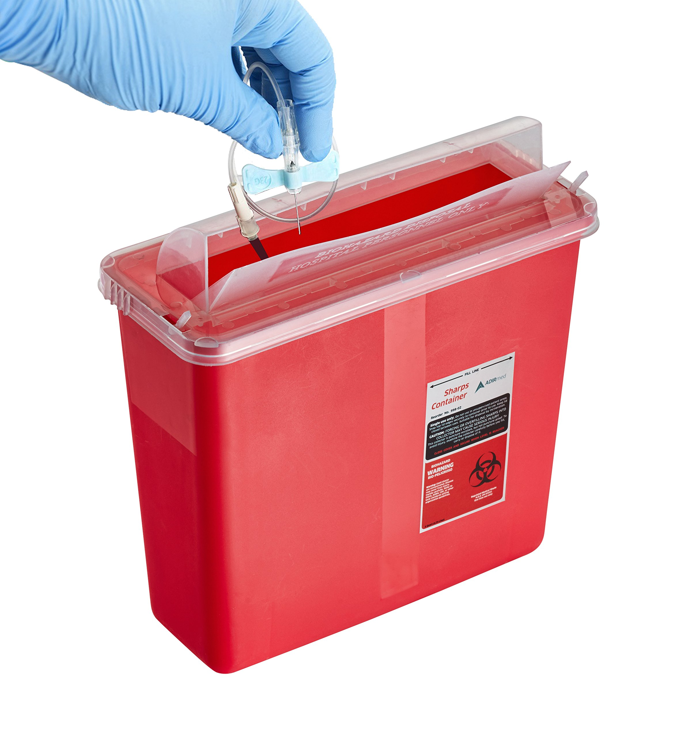 AdirMed Sharps & Needle Biohazard Disposal Container - 5 Quart - Mailbox Style Horizontal Lid - 1 Pack by Adir Med (Image #2)
