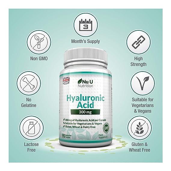 Ácido Hialurónico 300 mg - 90 Cápsulas (Suministro Para 3 Meses) - Tres Veces más Concentrado que Muchas Marcas, por Nu U Nutrition: Amazon.es: Salud y ...