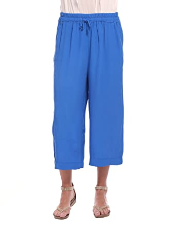 Womens Pantalone a Palazzo Corto in Crepe Blu Royal Trousers Solo Capri L0kjXH