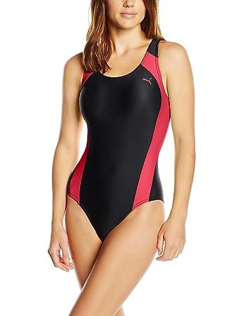 Puma Active Womens Swimming Costume Cat Logo Swim Suit Rose Red Xs