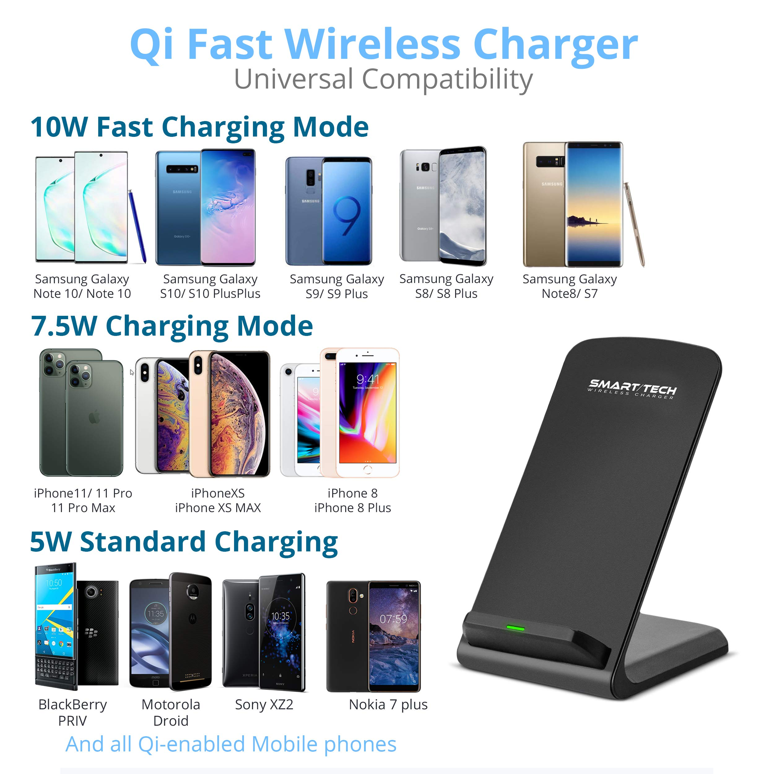 SmartTech Wireless Charger, Qi-Certified Fast Wireless Charging Stand 10W for Samsung Galaxy S10 /S9/S8/S7, Note 10/9, 7.5W PowerWave for iPhone 11/11 Pro Max/X/XS Max/XR/XS/8 Plus (No AC Adapter)