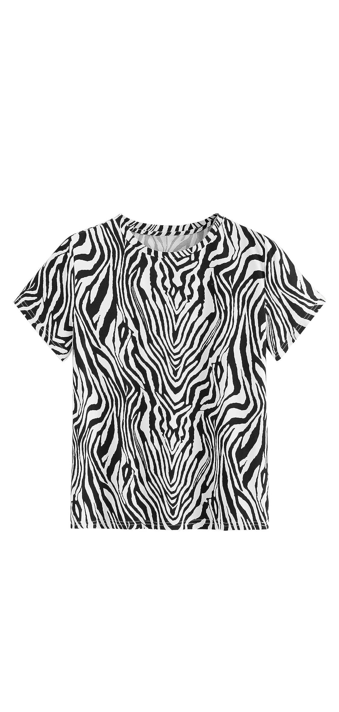 Women's Casual Leopard Print Round Neck Short Sleeve T