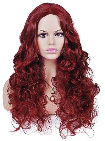 Spretty Encanto Fluffy vino rojo largo rizado pelucas sintéticas para las  mujeres cosplay traje partido no Bangs  Amazon.es  Belleza 70c022dd97d6