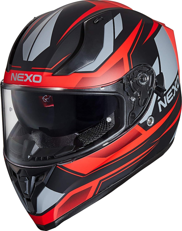 XS-XL verschiedene Dekore Ratschenverschluss Entl/üftung Windabweiser herausnehmbare Polster Be- Nexo Integralhelm Motorradhelm Helm Motorrad Mopedhelm Sport II klares Visier