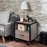 "Q-Max SH1563 Q-Max 23""H Rectangular Rustic Natural and Black Finish 1-Drawer Nightstand, Natural"