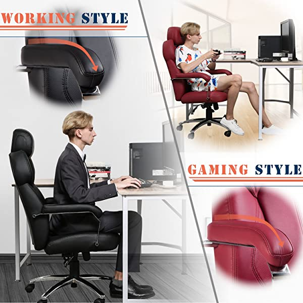 TOPSKY Office Chair Gaming Chair Executive Large Leather Chair with Adjustable Headrest High Back (Red_New)