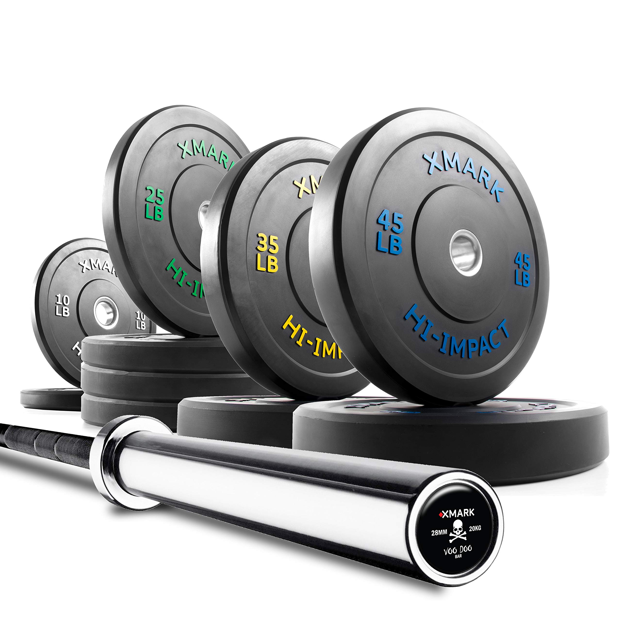 XMark Voodoo Commercial 7' Olympic Bar Plus 280 lbs. of XMark HI-Impact Low Bounce Virgin Rubber Olympic Bumper Plates