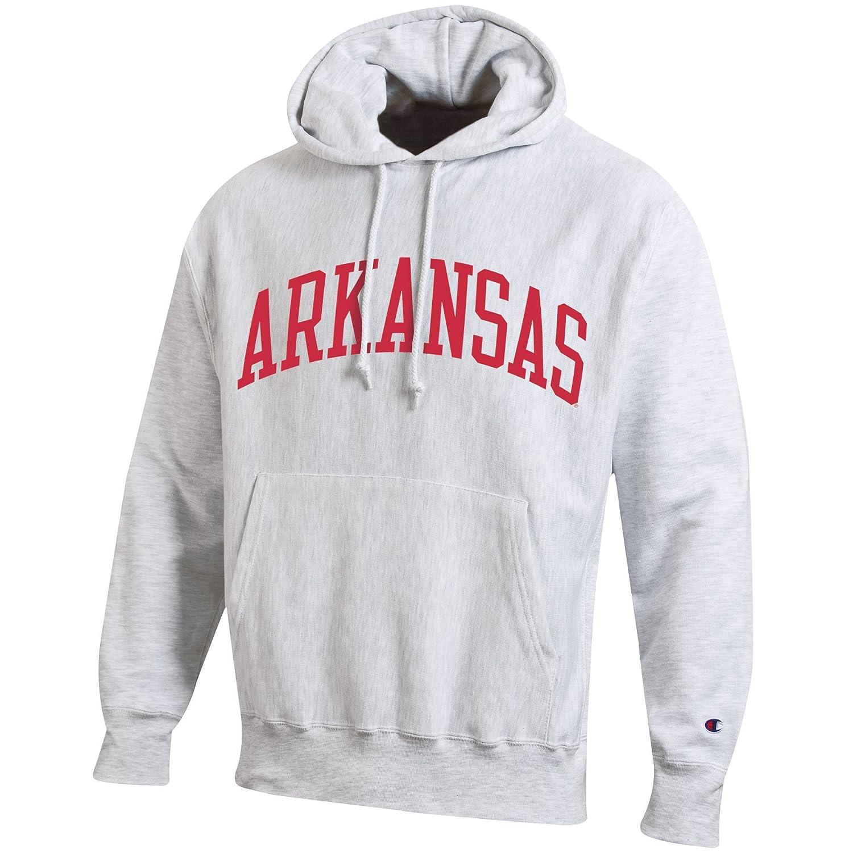Silver//Grey Champion NCAA Arkansas Razorbacks Mens Reverse Weave Hooded Sweat Shirt X-Large