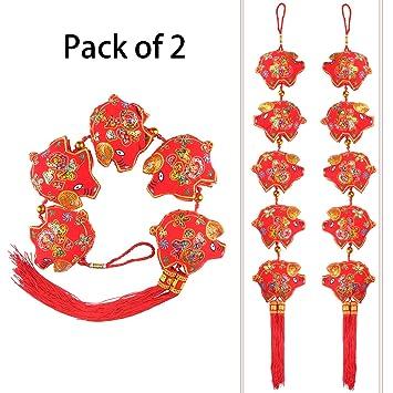 Amazon Com Ki Store Chinese New Year Pigs Hanging Decorations