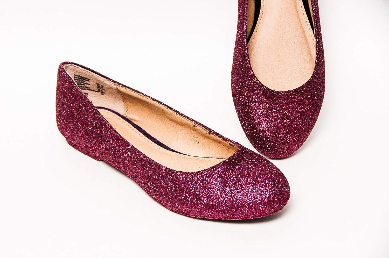 7d34bdde8 Amazon.com: Women's Hand Glittered Burgundy Maroon Red Glitter Ballet Flats  Slip On Shoes by Princess Pumps: Handmade