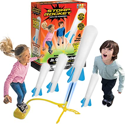 Stomp Rocket The Original Jr. Glow Rocket Launcher, 4 Foam Rockets and Toy Air Rocket Launcher - Glows in The Dark, STEM Gift for Boys and Girls Ages 3 Years and Up - Great for Year Round Play