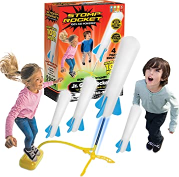 Stomp Rocket The Original Jr. Glow Rocket, 4 Rockets and Toy Rocket Launcher