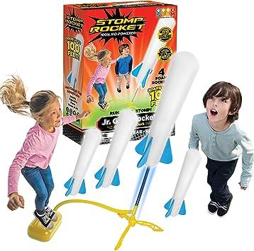 Stomp Rocket The Original Jr. Glow Rocket, 4 Rockets and Toy Rocket Launcher
