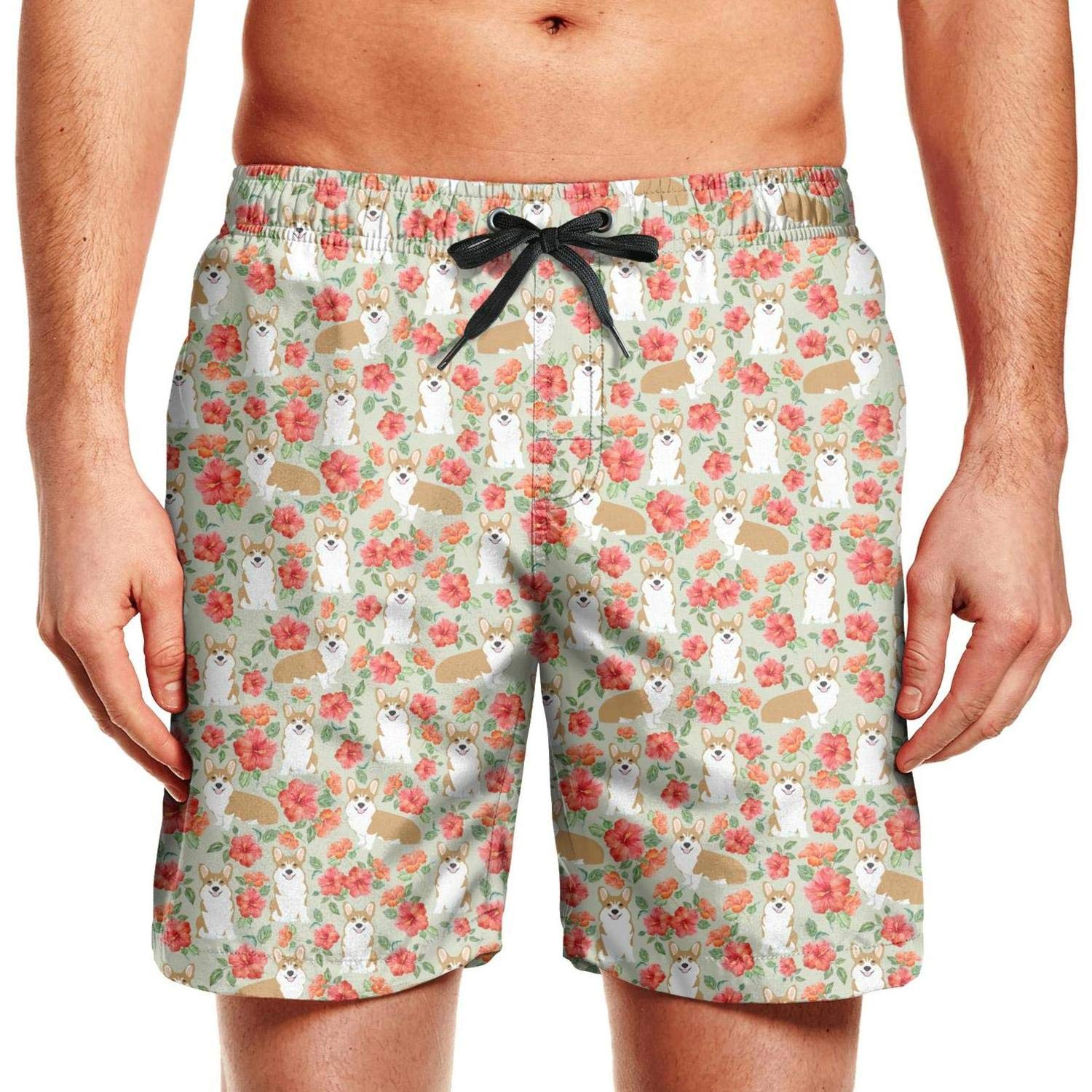 Trendy Mens Beach Shorts Flower and Pug Dog Classic Quick Dry Drawstring Sportwear