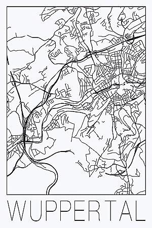 Carte Allemagne Noir Et Blanc.David Springmeyer Carte Retro Wuppertal Allemagne Noir Et