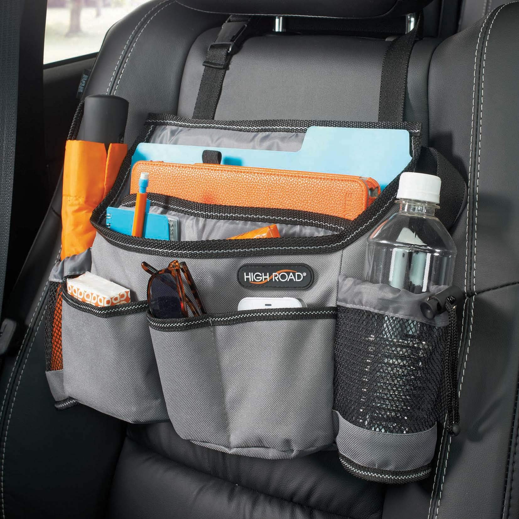 High Road Front Seat Organizer with SwingAway Handles (Gray) by High Road