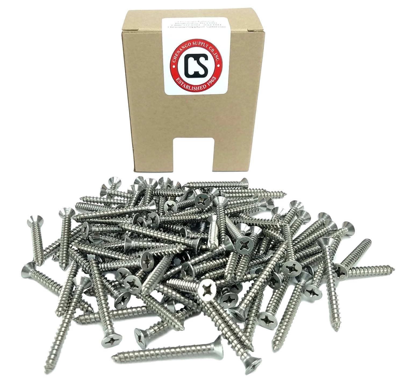 82 Degrees 100 Sheet Metal Screws #12 x 1-1//2 1//2 to 3 in Listing #12 X 1-1//2 Stainless Phillips Flat Head Sheetmetal Screw
