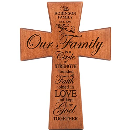 LifeSong Milestones Personalized Our Family is a Circle of Strength Cherry Wood Wall Cross Custom Housewarming Gifts 12×17