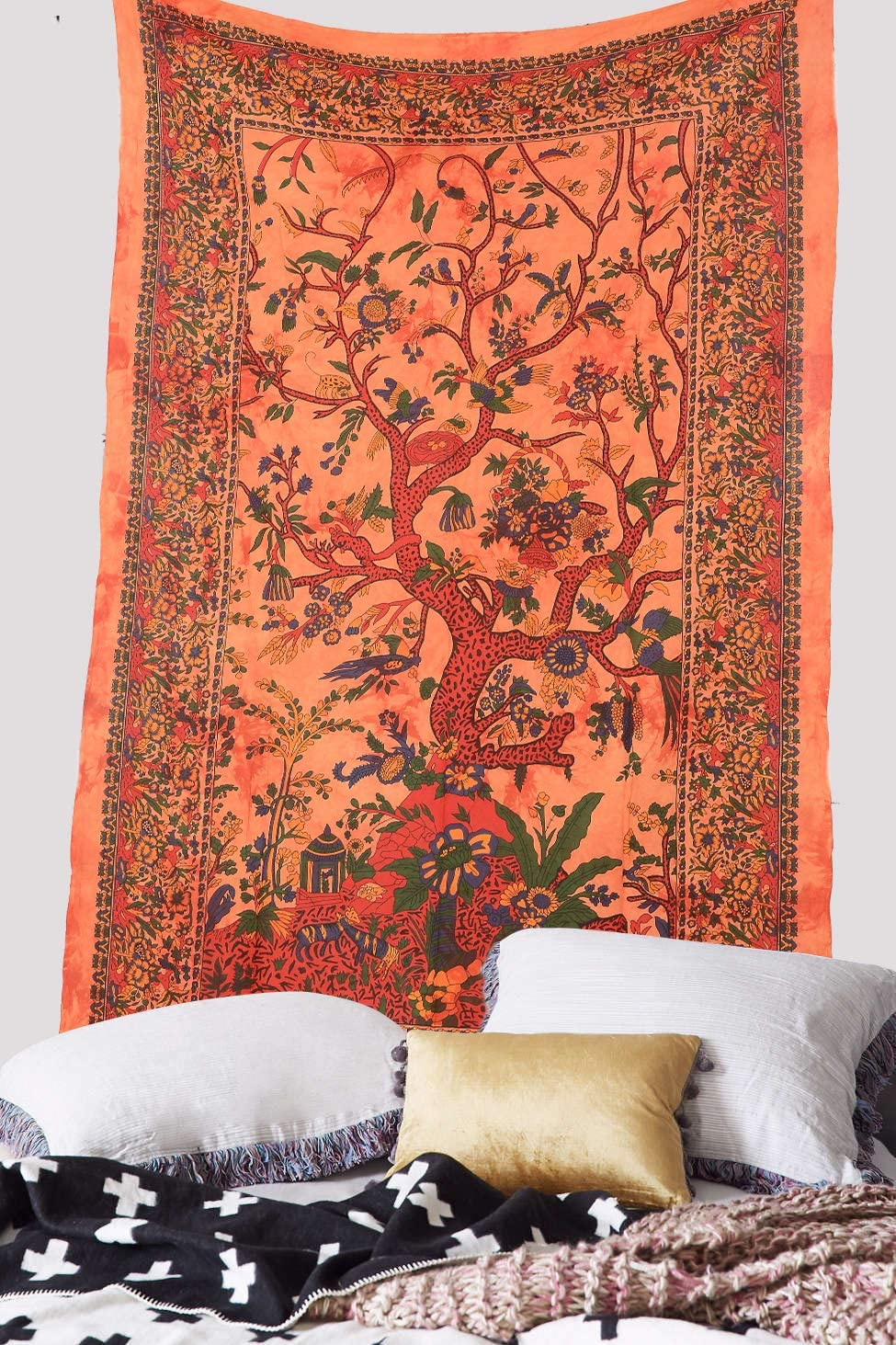 Ambika Designs 100/% Cotton Handmade Hippi Bohemian Indian Green Star Wall Hanging Decorative Indian Art Home Decor Bedspread Twin Size Tapestry