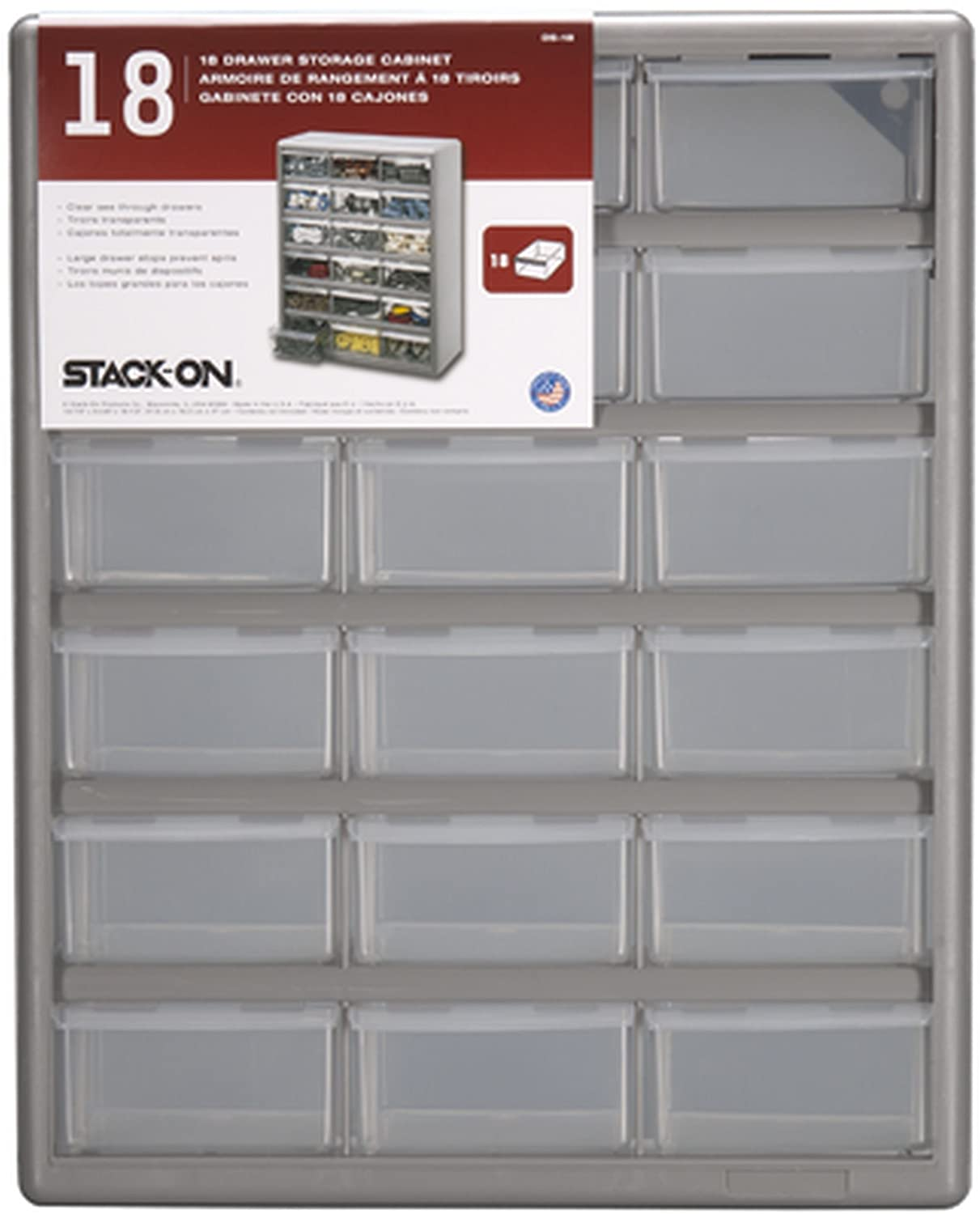 Storage Bin Cabinet Amazoncom Stack On Ds 18 18 Drawer Storage Cabinet Home Improvement