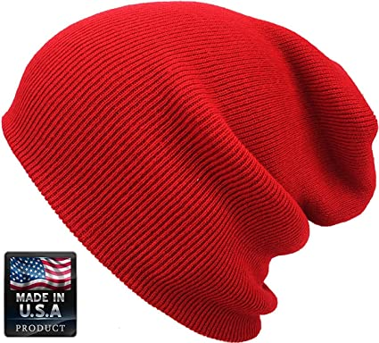 d3bc97295de2e8 Image Unavailable. Image not available for. Color: Cuff Beanie Plain Knit  Hat Winter Warm Cap Slouchy Skull Ski Hats Men Women ...