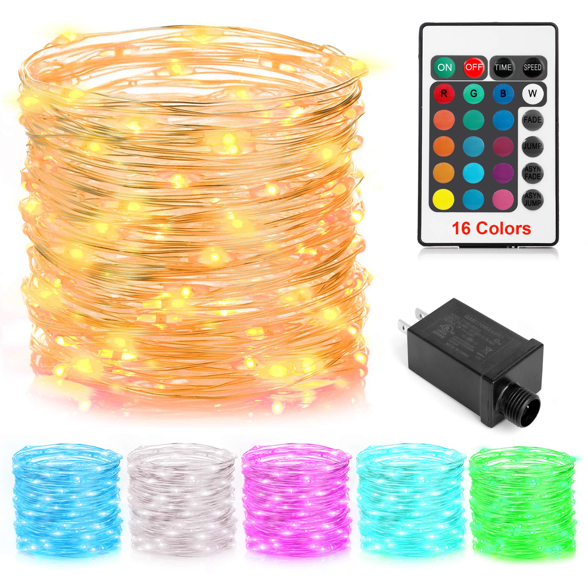GDEALER 100 Led 16 Colors String Lights Electric Plug-in Multi Color Change String Lights Remote Fairy Lights with Timer 33ft Firefly Twinkle Lights for Bedroom Party Wedding Halloween Christmas Decor
