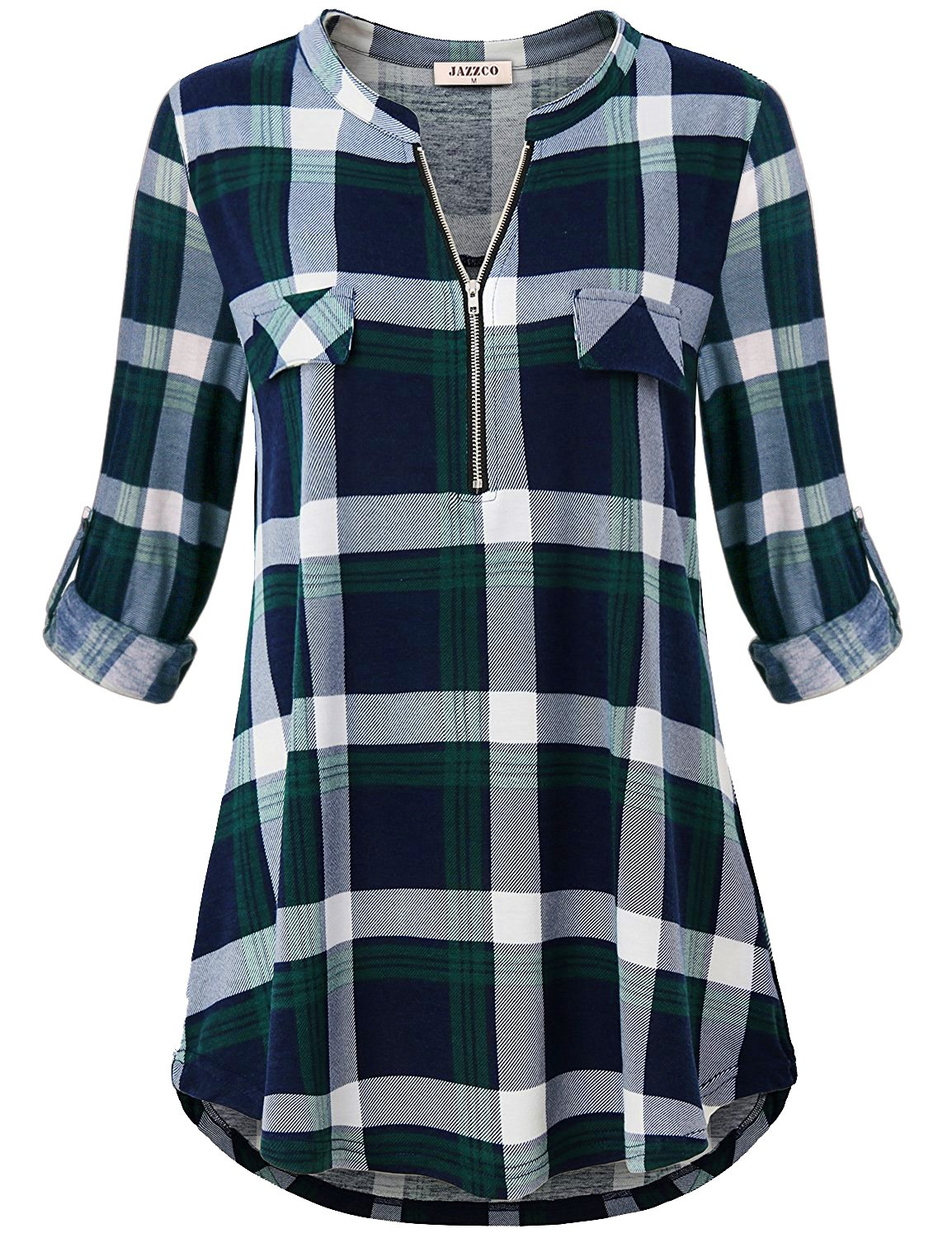 Jazzco Vintage Blouses,Women's Shirts Notched Collar Zip V Neck Rolled up Sleeve Tunic Tops Versatile Retro Style Pleated Back Curved Hem Hipster Baggy Plaid T Shirt(Plaid Green,Large)