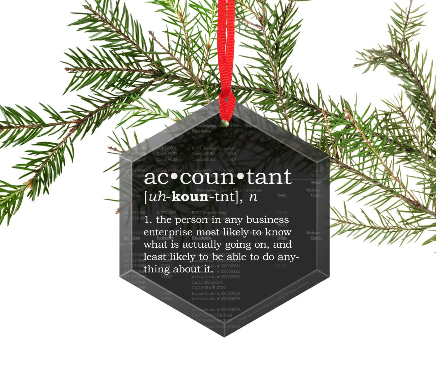 Accountant Definition Funny Glass Christmas Ornament